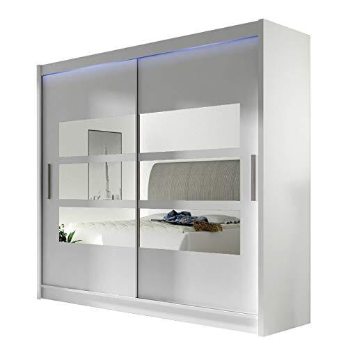 Kleiderschrank mit Spiegel London III, Schwebetürenschrank, Schiebetürenschrank, Modernes Schlafzimmerschrank 180x215x57cm, Garderobe, Schlafzimmer (Weiß, mit RGB LED Beleuchtung)