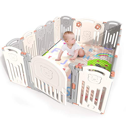 Kidsclub Baby Playpen 14+2 Panel Activity Center Safety Play Yard for Toddler Foldable Portable HDPE Indoor Outdoor Infants Playards Fence Play Pin Let Baby Play While Doing Housework/Cooking