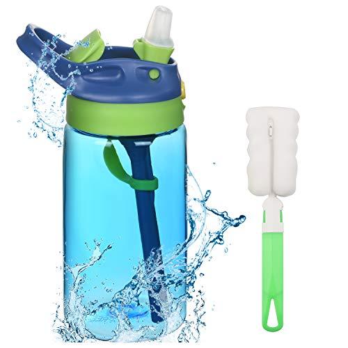 flintronic Botella Agua con Pajitas, Botella de Agua para Niños, 480ml/16OZ Botella a prueba de Fugas, Grado alimenticio PP Plástico, para Deportes y Aire Libre, Azul
