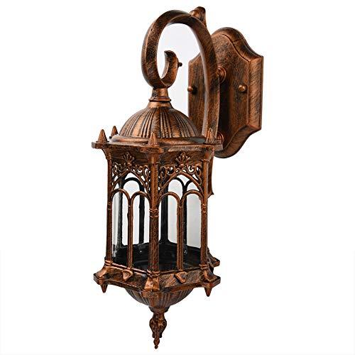 Cloudbox Linterna de Pared Estilo Vintage Linterna de Pared Soporte para lámpara Interior Exterior Decoración de jardín Sin Fuente de luz Bronce