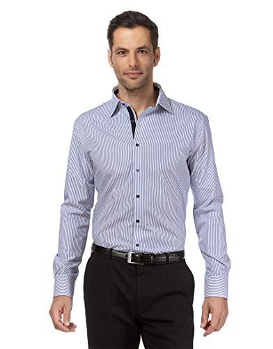 Vincenzo Boretti Herren-Hemd bügelfrei 100% Baumwolle Regular-fit gestreift New-Kent Kragen - Männer lang-arm Hemden für Anzug Krawatte Business Freizeit blau/weiß 45/46