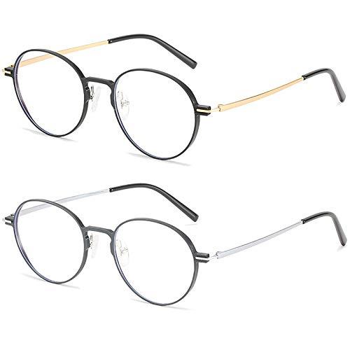 Bias&Belief Pack de 2 Gafas con Bloqueo de luz Azul Juego de computadora Gafas Marco de anteojos Redondos Gafas para Juegos de Lectura Anti-Fatiga Ocular para Mujeres y Hombres,D