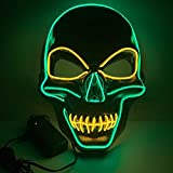 Mascara LED de Craneo,Horror Light Up Esqueleto Mask de Bicolor,Halloween Luminosa Mascaras con 3 Modos de Iluminación,para Cosplay,Festival,Navidad,Fiesta Show,Adecuado para Adultos(Verde+Amarillo)