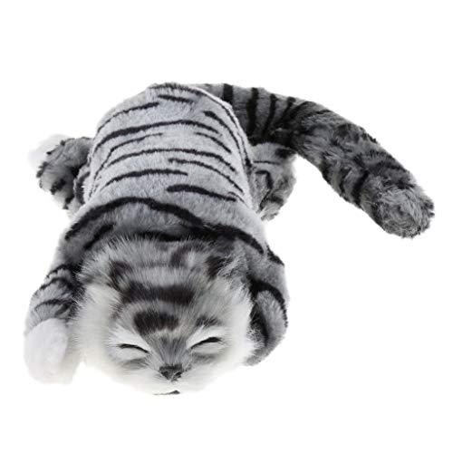 Plüschkatze Spielzeug Elektronische Katze mit Funktion, Perfekt Geschenk für Kinder und Alte Menschen - Grau