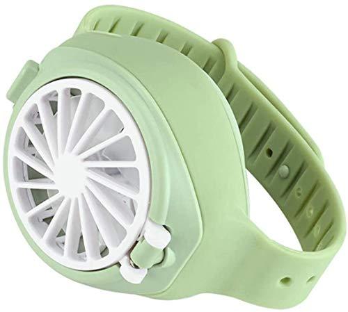 Persoonlijke kleine ventilator, draagbare miniventilator met 3 snelheidsinstellingen, kinderhorloge, oplaadbare ventilator met USB-aansluiting, koeltas voor reizen en kantoor. Groen