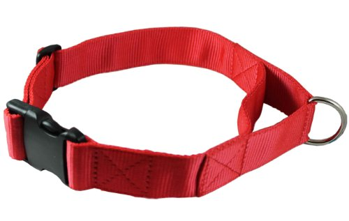 "Adjustable Nylon Dog Collar with Handle 1.75"" Wide Fits 22""-27"" Neck X-Large Red"
