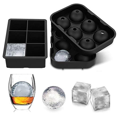 LessMo 2 Stk. Eiswürfelform, Silikon Kugel Eiswürfelschale mit Deckel und großen quadratischen Eiswürfelform, Wiederverwendbar und BPA-frei