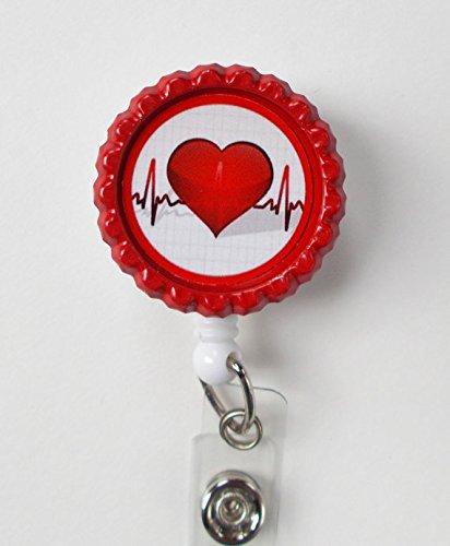 Heartbeat Bottle Cap Badge - Nursing Badge Holder - RN Badge Reel - Nurse Name Badge - Nurses Badge - Cute ID Badge Reel - Nursing Badge Photo #3