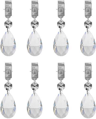 hyamass 8Metall Clip Kristall Glas Anhänger in Tropfenform Tischdecke Gewichte