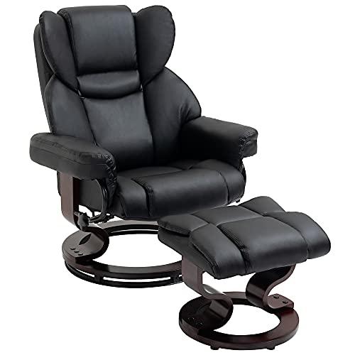 HOMCOM Reclining Swivel Armchair Footstool Set Sofa Padded PU Leather Relaxing Manual Duo Metal Frame Bentwood Base Black