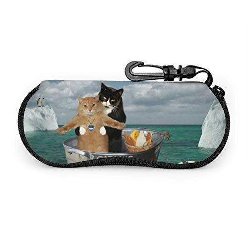 sherry-shop Custodia per occhiali da sole Divertente catanica Due gatti Cosplay Titanic Occhiali da sole Custodia morbida Custodia per occhiali con cerniera in neoprene ultra leggera con portachiavi