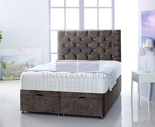 Universal Beds SOFT VELVET OTTOMAN SIDE LIFT STORAGE DIVAN BED BASE WITH 1000 POCKET MEMORY MATTRESS | FREE 26' HEADBOARD!!!! (4.6 FT - Double, Soft Velvet Charcoal)