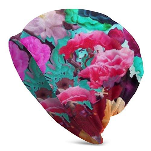 Bunte Blumen tropische Pflanze Aquarell Mütze für Männer Frauen Weiche Slouchy Schädel Kappe Warm Stretchy Plain Cuff Strick Hüte Unisex