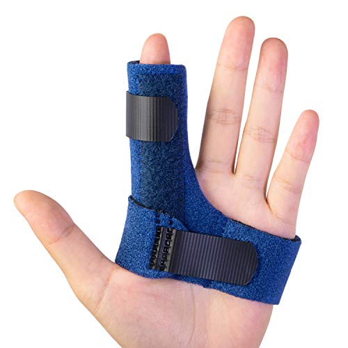 Sumifun Trigger Finger Splints, Finger Brace with Built-in Aluminium Bar for Injured Finger, Mallet Finger, Finger Supports with 2 Gel Sleeves for Sprains, Pain Relief, Sports Injury(Left)