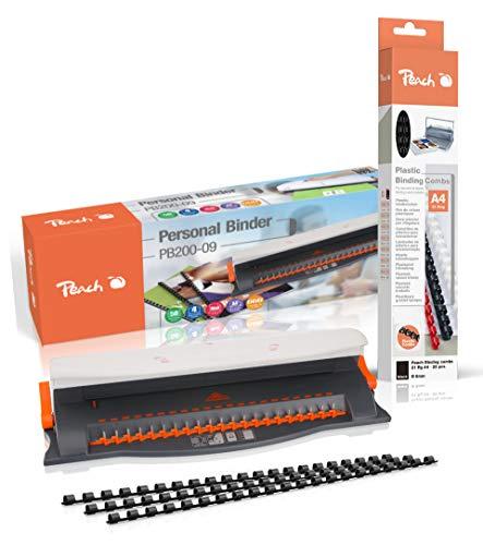 Peach PB200-09A Plastikbindegerät | Personal Binder DIN-A4 | bindet 50 Blatt | max. 12 mm Binderücken | 4 Blatt Stanzkapazität | inkl. 25-teiligem Starterset