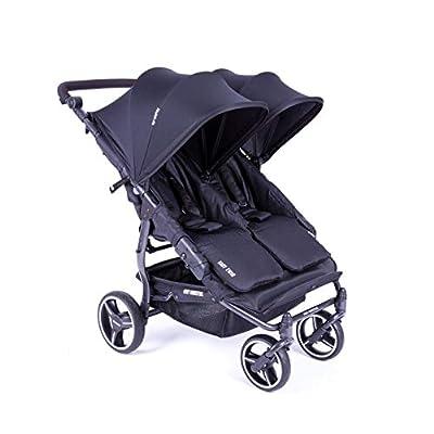 Cochecito doble Baby Monsters Easy Twin 3.S Light | PAsse en cualquier lugar | Incluye funda de lluvia | Práctico y manejable negro Negro