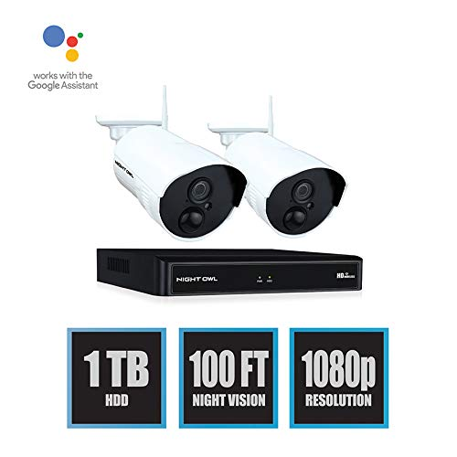 Night Owl Wireless Home Security Camera System with 2 AC Powered 1080p HD Indoor/Outdoor Wireless IP Cameras with Night Vision (Expandable up to a Total of 8 Wireless Devices), and 1TB Hard Drive