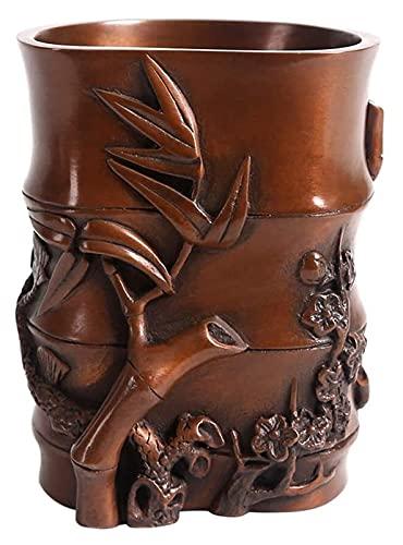 WQQLQX Statue Kiefer Bambusstift Halter Skulptur Kupfer Statue Handwerk Ornamente Handgeschnitzte Desktop Dekoration Zubehör Kunst Design Bambus Figuren Geschenke Skulpturen