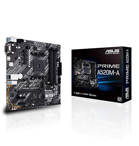 ASUS Prime A520M-A Mainboard Sockel AM4 (AMD Ryzen, micro-ATX, M.2, 1Gbit/s-Ethernet, SATA 6Gbit/s, USB 3.2 Gen 2 Typ-A)