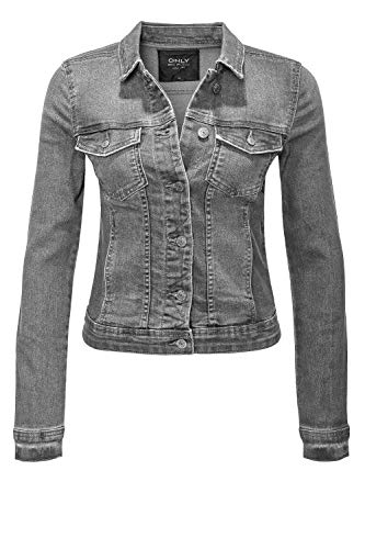 ONLY Damen Jeansjacke Übergangsjacke Leichte Jacke Denim Casual GE LESTA- Gr. S (36), Grey Denim