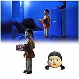 YSDQ Squid Gioco Sveglia 123 in Legno Horror Suono Orologio Musicale in Legno Bambola Femminile Sveglia Camera da Letto Elettronico Uomo di Legno Allarme Decorazione Regalo Giocattolo