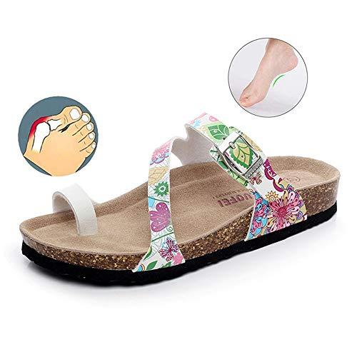 XXD Sandalias Mujer Planas Verano Corrector Juanetes Cuero PU Chanclas Ajustable Zapatos Cómodas Moda Playa Sandalias Palas con Suela Corcho#1-44