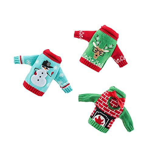 TOYANDONA 3Pcs Maglione di Natale Bottiglia di Vino Copre Renna Pupazzo di Neve di Natale Vestiti Bottiglia di Vino Bottiglia di Vino Borse Dress Acqua Birra Bottiglia Titolari