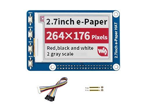 Preisvergleich Produktbild Waveshare 2.7Inch E-Paper Display Hat(B) Module Kit 264x176 Resolution 3.3vE-Ink Electronic Screen with Embedded Controller, Red Black White Threecolor for Raspberry Pi 2B 3B Zero Zero W, SPI Interface