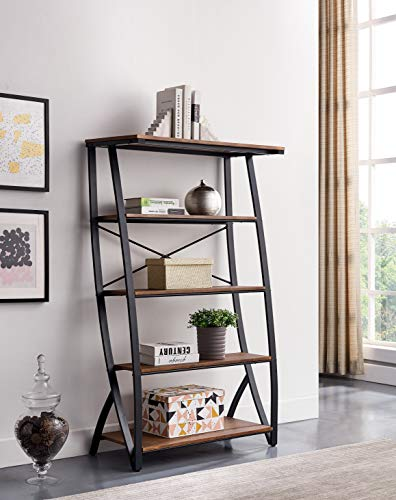 Teraves Reversible L Shaped Desk with Shelves/5-Tier Bookshelf Wood Bookcase with Metal Frame Book Shelf