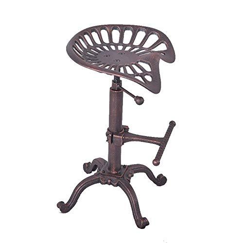 Kruk van metaal met poedercoating, sluiting, tractorkruk, in hoogte verstelbaar, comfortabele draaibare zitting, barkruk, barkruk, koffiestoel, stool messing