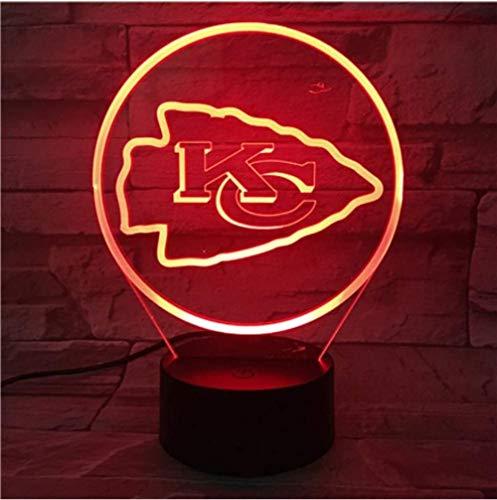 Kansas City Chiefs Nachtlampe Schlafzimmer USB Touch Kinder Kind Geschenk Team Logo Led Nachtlicht American Football