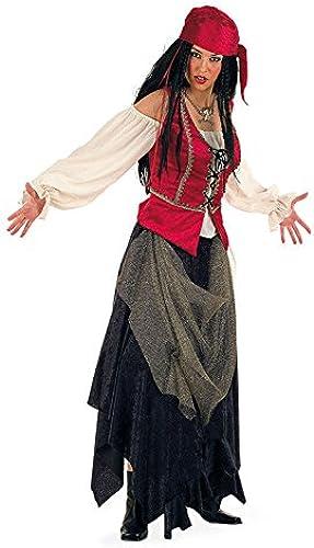 Piratin Deluxe Damenkostüm SchwarzWeißs rot XL