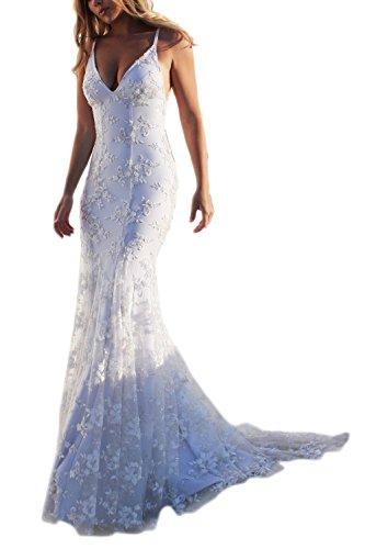 Las Mujeres Blancas Maxi Vestido con Cuello En V De Encaje Vestidos Bodycon Backless Formal Fiesta En La Playa Blanco M