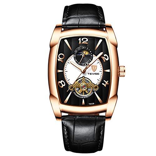 ZBHWYD Reloj mecánico de Correa de Cuero, Reloj automático, Reloj mecánico automático de Acero Inoxidable para Hombres, Correa de Cuero cómoda (Hombre y Mujer),Oro