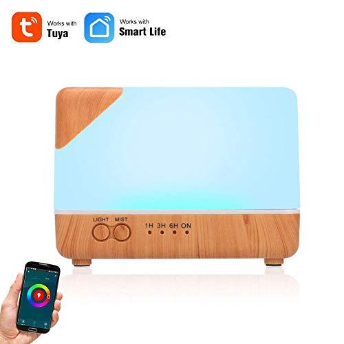 LMM 700ml Luftbefeuchter Ätherisches Öl Aroma Diffuser Smart Wi-Fi-Luftbefeuchter, mit Led-Nachtlampen-Smart-Life App-Control-Timing-Funktion, Geeignet for Yoga Center Schlafzimmer Baby Room