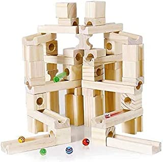木製ブロック60PCS + 日本製 ビー玉 5個 積み木 日本国内安全検査済 天然無着色 オリジナルポーチ付き Ms.0