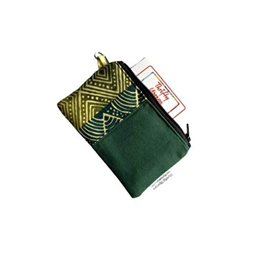 Green Canvas African Small Zipper Coin Pouch, Green Change Purse