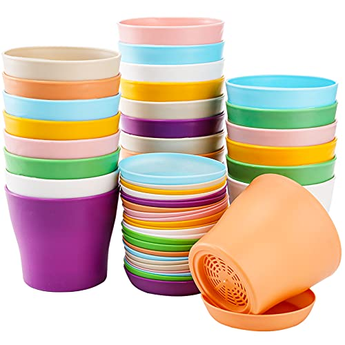 Tosnail 24 Pack 4″ Small Plastic Plant Flower Pot with Saucers, Seedlings Nursery Pots Planter with Pallet Planting Gardening Containers – Assorted 8 Colors
