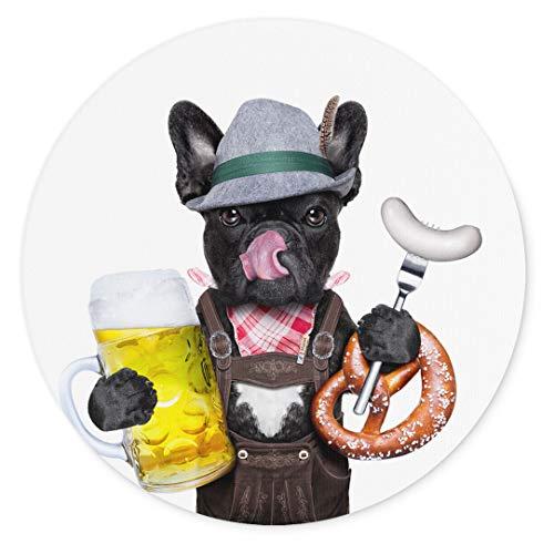 Merchandise for Fans Französische Bulldogge asls Bayer mit Bier weißwurst und Brezel, Mauspad rund aus Textil 20cm, Rutschfester Kautschukrücken, für alle Maustypen