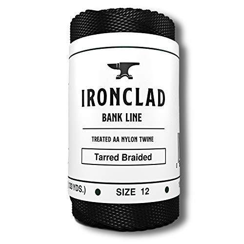 Ironclad Supply Tarred Bank Line – Heavy Duty 100% Nylon Twine for Fishing, Hunting, Camping, Bushcraft – Odorless, Mess-Free Tar Coating (#12 Braided, 1/4 LB)