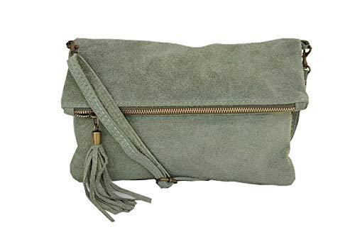 zarolo Damen Umhängetasche,Tasche klein, Schultertasche, Cross Body, Leder Clutch echtes Leder, Handtasche Italienische Handarbeit M20590 (WL-Hellgrün)