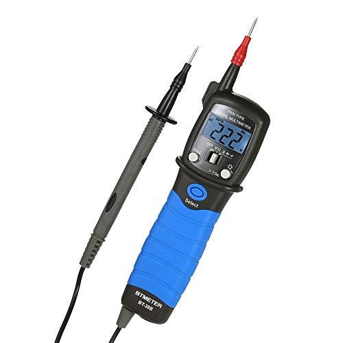 Leepesx BTMETER Tipo de bolígrafo Multímetro digital Retroiluminación portátil Pantalla LCD Medidor de voltaje DC/AC Resistencia Probador de continuidad de diodo