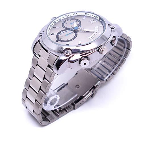 Reloj de Pulsera con cámara Oculta espía HD 1080, Grabación de vídeo Oculto y Sonido Reloj Tradicional Profesional. Soporte Memoria 32gb (Correa de Metal)