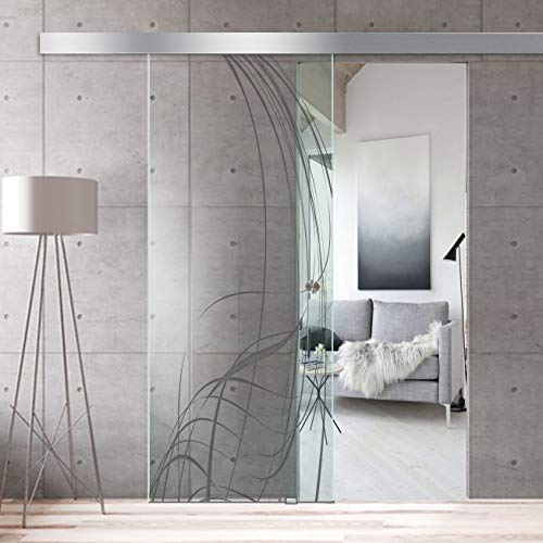 Modern Glass Art - Porta scorrevole in vetro temperato di sicurezza, con rivestimento nano in acciaio inox SS304, 95 x 215 cm, colore: Grigio scuro