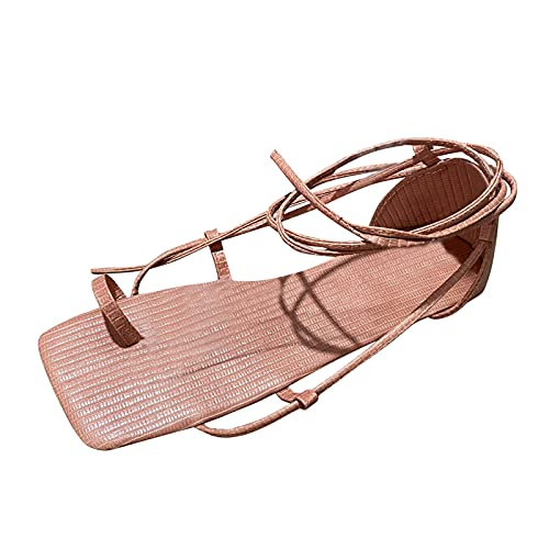 Yuanjay Women's Summer Casual Adjustable Flat Shoes Open Toe Ccross Strap Plus Size Strappy Walking Sandals Pink 41