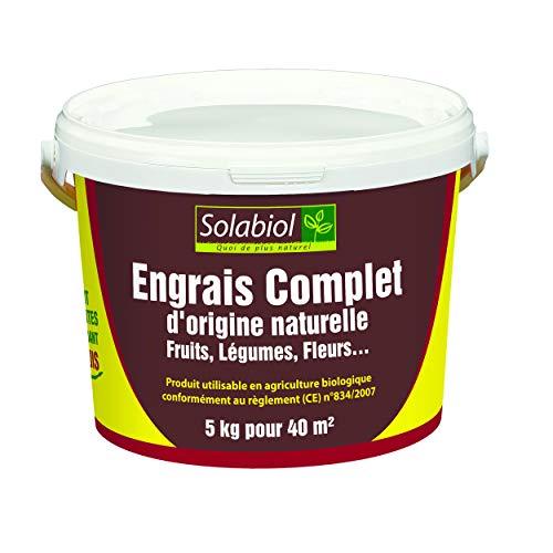 Solabiol SOCOMP5 Engrais Complet - Fruits, Légumes, Fleurs | Seau 5 Kg Utilisable en Agriculture...