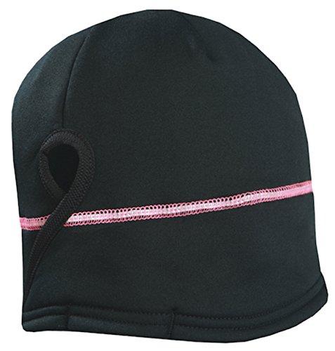 TrailHeads Gorro feminino de inverno com rabo de cavalo | Chapéu de corrida de desempenho | Gorro refletivo, Preto/prata/rosa neon, One Size