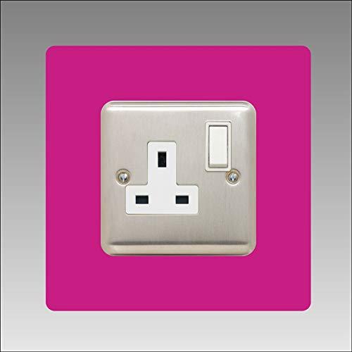 DSD Supplies ltd. Envolvente de enchufe único, cuadrado, panel trasero acrílico o placa de dedo, interruptor de luz, color de fuente: rosa.
