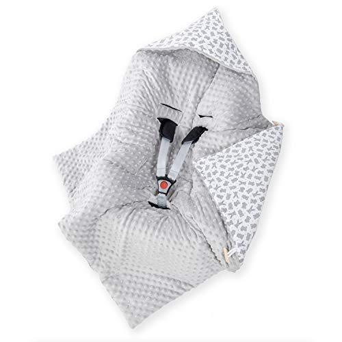 Amilian Manta envolvente para bebé, saco de dormir, manta con capucha, universal para portabebés, asiento de coche, cochecito, aprox. 90 x 90 cm, algodón, para coche de bebé B09