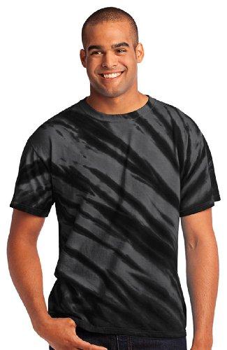 Port & Company® - Tiger Stripe Tie-Dye Tee. PC148 Black M